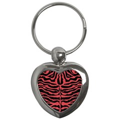 Skin2 Black Marble & Red Colored Pencil (r) Key Chains (heart)  by trendistuff