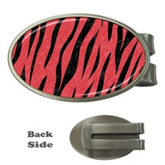 Skin3 Black Marble & Red Colored Pencil Money Clips (oval)  by trendistuff