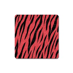 Skin3 Black Marble & Red Colored Pencil Square Magnet by trendistuff