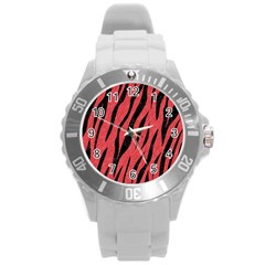 Skin3 Black Marble & Red Colored Pencil Round Plastic Sport Watch (l) by trendistuff
