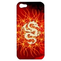 Wonderful Golden Dragon On Red Vintage Background Apple Iphone 5 Hardshell Case by FantasyWorld7