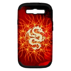 Wonderful Golden Dragon On Red Vintage Background Samsung Galaxy S Iii Hardshell Case (pc+silicone) by FantasyWorld7