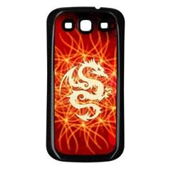 Wonderful Golden Dragon On Red Vintage Background Samsung Galaxy S3 Back Case (black) by FantasyWorld7
