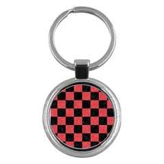 Square1 Black Marble & Red Colored Pencil Key Chains (round)  by trendistuff