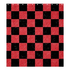 Square1 Black Marble & Red Colored Pencil Shower Curtain 66  X 72  (large)  by trendistuff