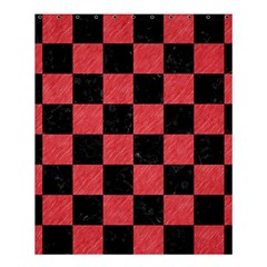 Square1 Black Marble & Red Colored Pencil Shower Curtain 60  X 72  (medium)  by trendistuff