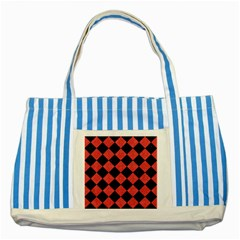 Square2 Black Marble & Red Colored Pencil Striped Blue Tote Bag by trendistuff