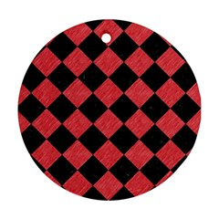 Square2 Black Marble & Red Colored Pencil Round Ornament (two Sides) by trendistuff
