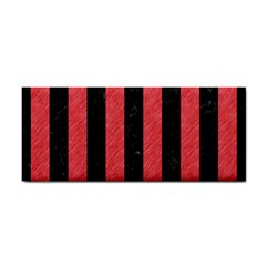 Stripes1 Black Marble & Red Colored Pencil Cosmetic Storage Cases by trendistuff