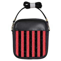 Stripes1 Black Marble & Red Colored Pencil Girls Sling Bags by trendistuff