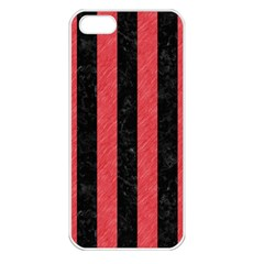 Stripes1 Black Marble & Red Colored Pencil Apple Iphone 5 Seamless Case (white) by trendistuff