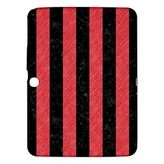 Stripes1 Black Marble & Red Colored Pencil Samsung Galaxy Tab 3 (10 1 ) P5200 Hardshell Case  by trendistuff