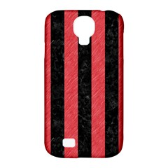 Stripes1 Black Marble & Red Colored Pencil Samsung Galaxy S4 Classic Hardshell Case (pc+silicone) by trendistuff