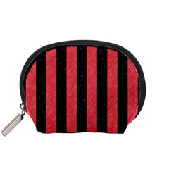 Stripes1 Black Marble & Red Colored Pencil Accessory Pouches (small)  by trendistuff