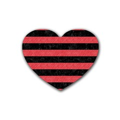 Stripes2 Black Marble & Red Colored Pencil Heart Coaster (4 Pack)  by trendistuff