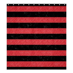 Stripes2 Black Marble & Red Colored Pencil Shower Curtain 66  X 72  (large)  by trendistuff