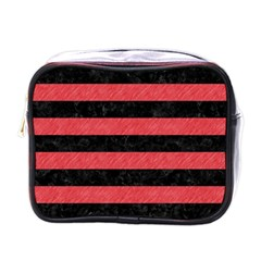 Stripes2 Black Marble & Red Colored Pencil Mini Toiletries Bags by trendistuff