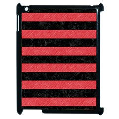 Stripes2 Black Marble & Red Colored Pencil Apple Ipad 2 Case (black) by trendistuff