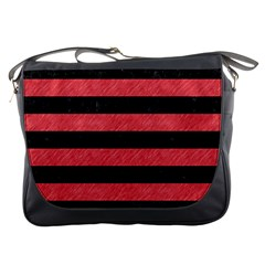 Stripes2 Black Marble & Red Colored Pencil Messenger Bags by trendistuff