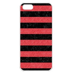 Stripes2 Black Marble & Red Colored Pencil Apple Iphone 5 Seamless Case (white) by trendistuff