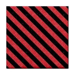Stripes3 Black Marble & Red Colored Pencil Tile Coasters by trendistuff
