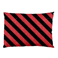 Stripes3 Black Marble & Red Colored Pencil Pillow Case by trendistuff