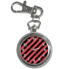 Stripes3 Black Marble & Red Colored Pencil (r) Key Chain Watches by trendistuff