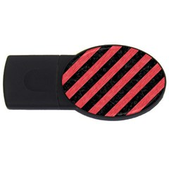 Stripes3 Black Marble & Red Colored Pencil (r) Usb Flash Drive Oval (4 Gb) by trendistuff