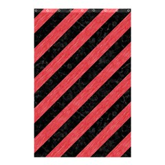 Stripes3 Black Marble & Red Colored Pencil (r) Shower Curtain 48  X 72  (small)  by trendistuff