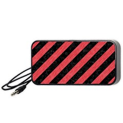 Stripes3 Black Marble & Red Colored Pencil (r) Portable Speaker by trendistuff