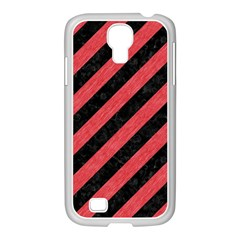 Stripes3 Black Marble & Red Colored Pencil (r) Samsung Galaxy S4 I9500/ I9505 Case (white) by trendistuff