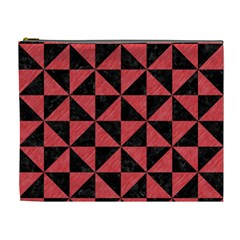 Triangle1 Black Marble & Red Colored Pencil Cosmetic Bag (xl) by trendistuff