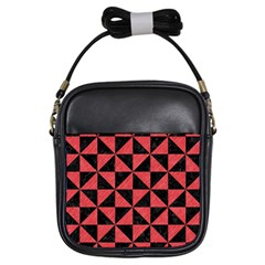 Triangle1 Black Marble & Red Colored Pencil Girls Sling Bags by trendistuff