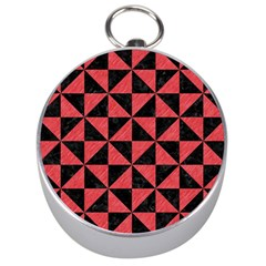 Triangle1 Black Marble & Red Colored Pencil Silver Compasses by trendistuff