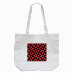 Triangle1 Black Marble & Red Colored Pencil Tote Bag (white) by trendistuff
