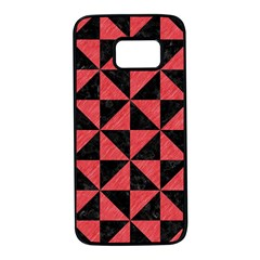 Triangle1 Black Marble & Red Colored Pencil Samsung Galaxy S7 Black Seamless Case by trendistuff