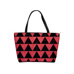 Triangle2 Black Marble & Red Colored Pencil Shoulder Handbags by trendistuff