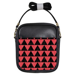 Triangle2 Black Marble & Red Colored Pencil Girls Sling Bags by trendistuff