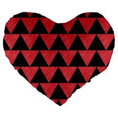 Triangle2 Black Marble & Red Colored Pencil Large 19  Premium Heart Shape Cushions by trendistuff