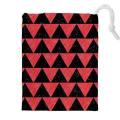 Triangle2 Black Marble & Red Colored Pencil Drawstring Pouches (xxl) by trendistuff