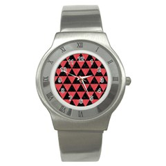 Triangle3 Black Marble & Red Colored Pencil Stainless Steel Watch by trendistuff