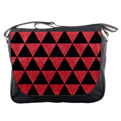 Triangle3 Black Marble & Red Colored Pencil Messenger Bags by trendistuff