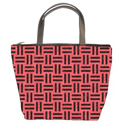 Woven1 Black Marble & Red Colored Pencil Bucket Bags by trendistuff