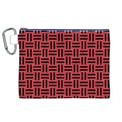 Woven1 Black Marble & Red Colored Pencil Canvas Cosmetic Bag (xl) by trendistuff