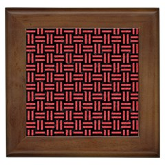 Woven1 Black Marble & Red Colored Pencil (r) Framed Tiles by trendistuff