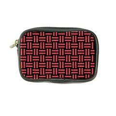 Woven1 Black Marble & Red Colored Pencil (r) Coin Purse by trendistuff