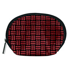 Woven1 Black Marble & Red Colored Pencil (r) Accessory Pouches (medium)  by trendistuff