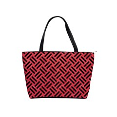 Woven2 Black Marble & Red Colored Pencil Shoulder Handbags by trendistuff