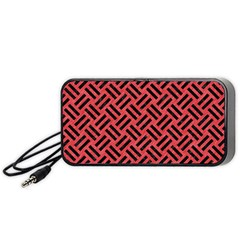 Woven2 Black Marble & Red Colored Pencil Portable Speaker by trendistuff