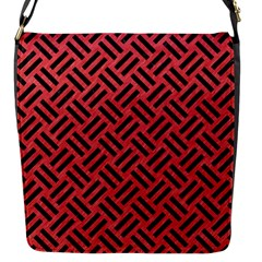 Woven2 Black Marble & Red Colored Pencil Flap Messenger Bag (s) by trendistuff